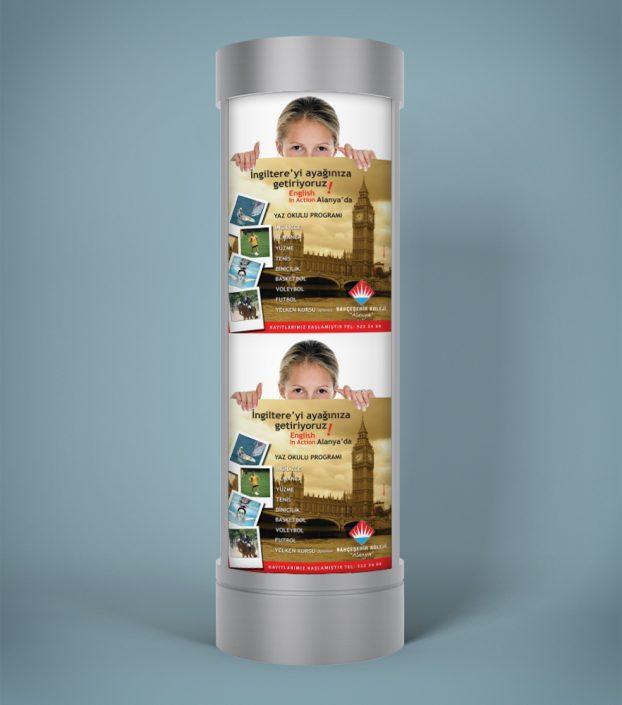 Silindir Kule Afişi Tasarımı - Bahçeşehir Koleji