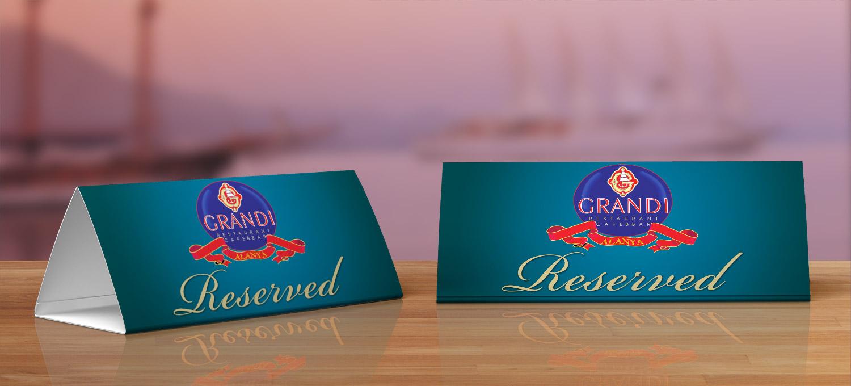 Masa Rezervasyon İsimliği - Grandi Restaurant Cafe Bar