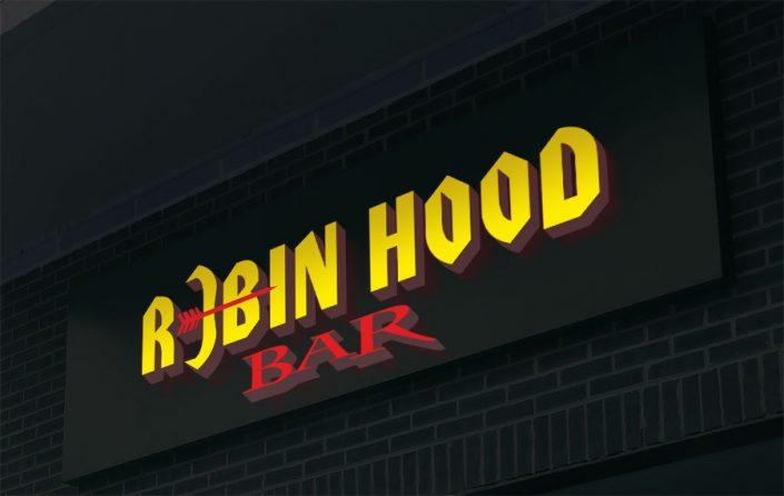 Işıklı Kutu Harf Tabela - Robin Hood Bar