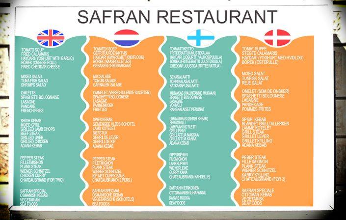 Işıklı Menu - Safran Restaurant