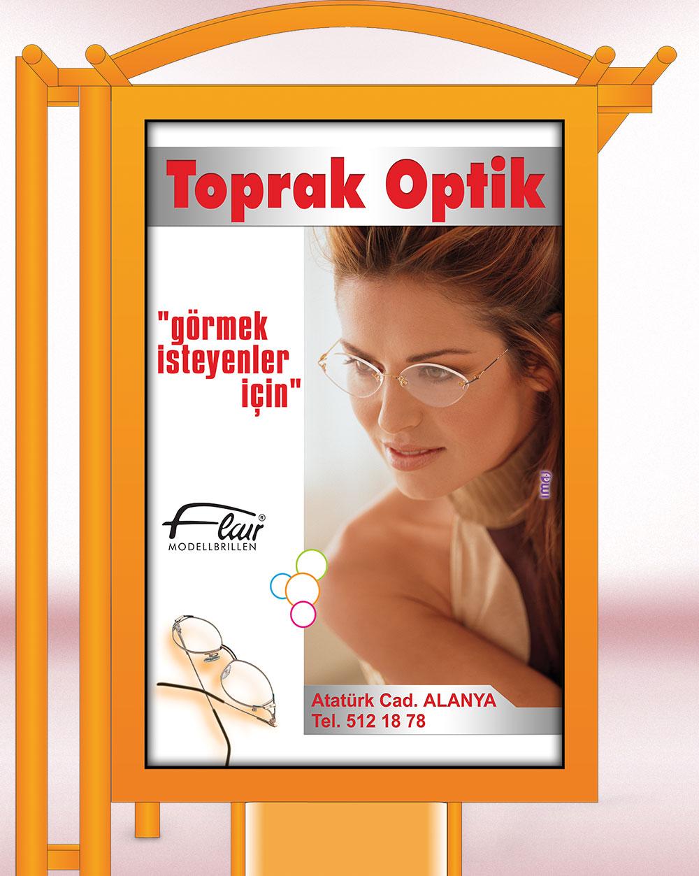 Gözlük Reklamları - Raket / Otobüs Durağı Afişleri