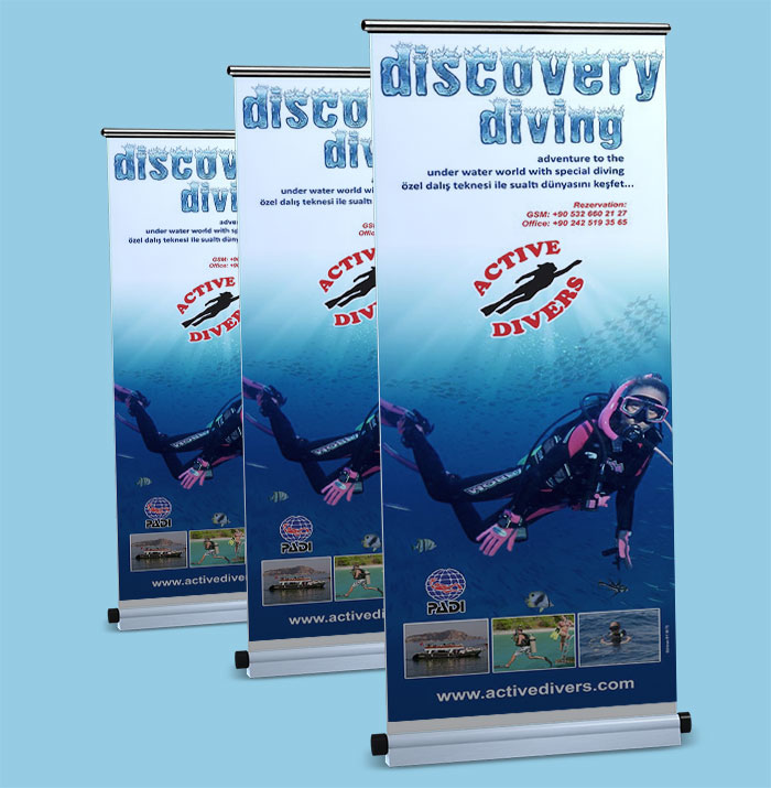 Ayaklı Stand Banner - Aktive Divers - Alanya / Antalya