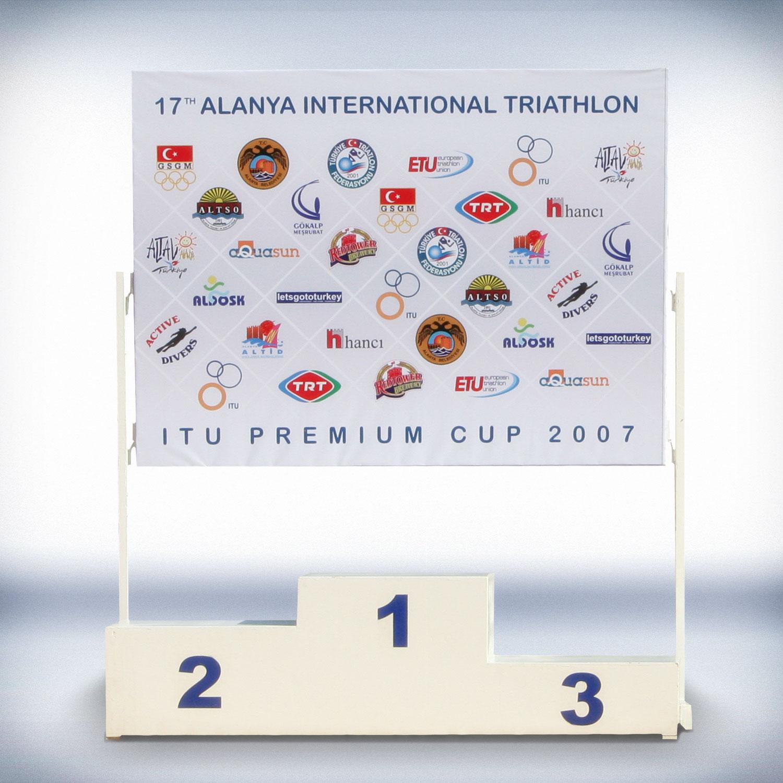 Sponsor Panosu ve Ödül Kürsüsü - Alanya Belediyesi Spor Müdürlüğü