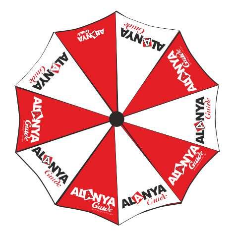 Baskılı Şemsiye - Broşür Standı - Alanya Guide