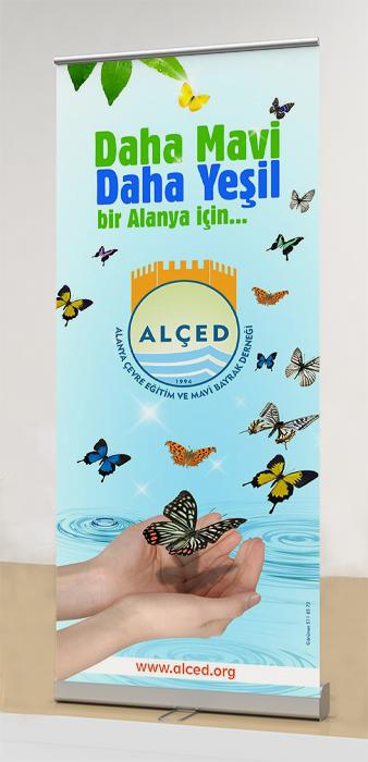 Ayaklı Stand Banner - Alanya Alçed Eğitim Mavi Bayrak Derneği Antalya Manavgat Gazipaşa Serik Side