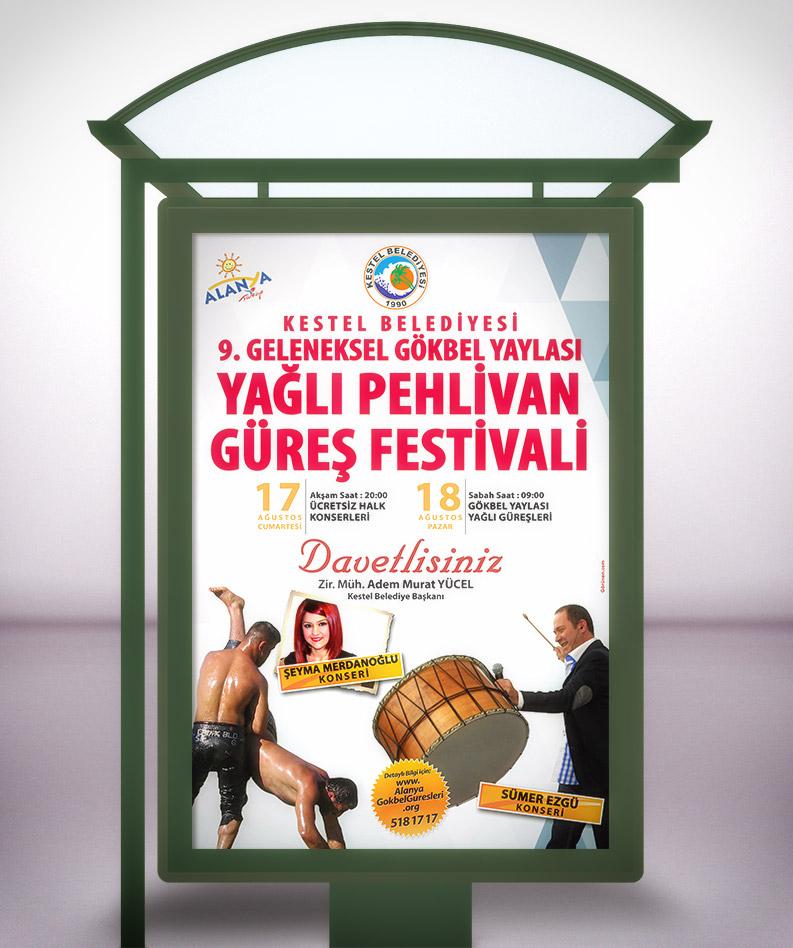 CLP Otobüs Durağı Reklam Afişi - Gökbel Yaylası Yağlı Pehlivan Güreş Festivali Alanya Kestel Belediyesi