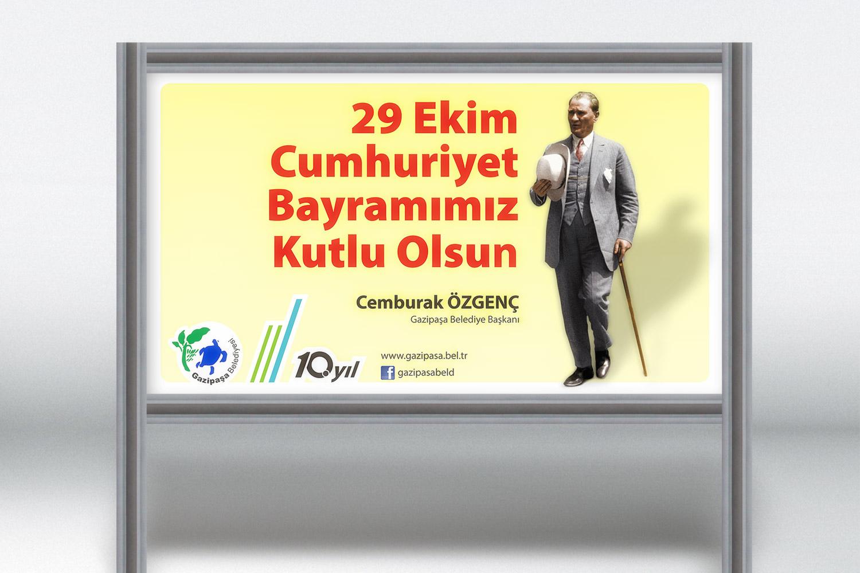 29 Ekim Cumhuriyet Bayramı Afişi - Gazipaşa Belediyesi