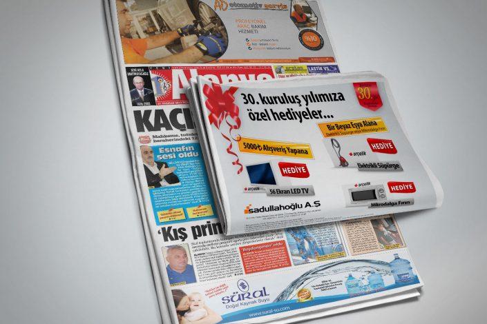 Kampanya Gazete İlanı - Sadullahoğlu AŞ Arçelik