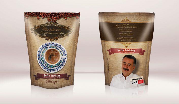 Kahve Ambalajı Tasarımı - CHP | Cumhuriyet Halk Partisi Alanya Belediye Başkan Adayı Şefik Türktaş