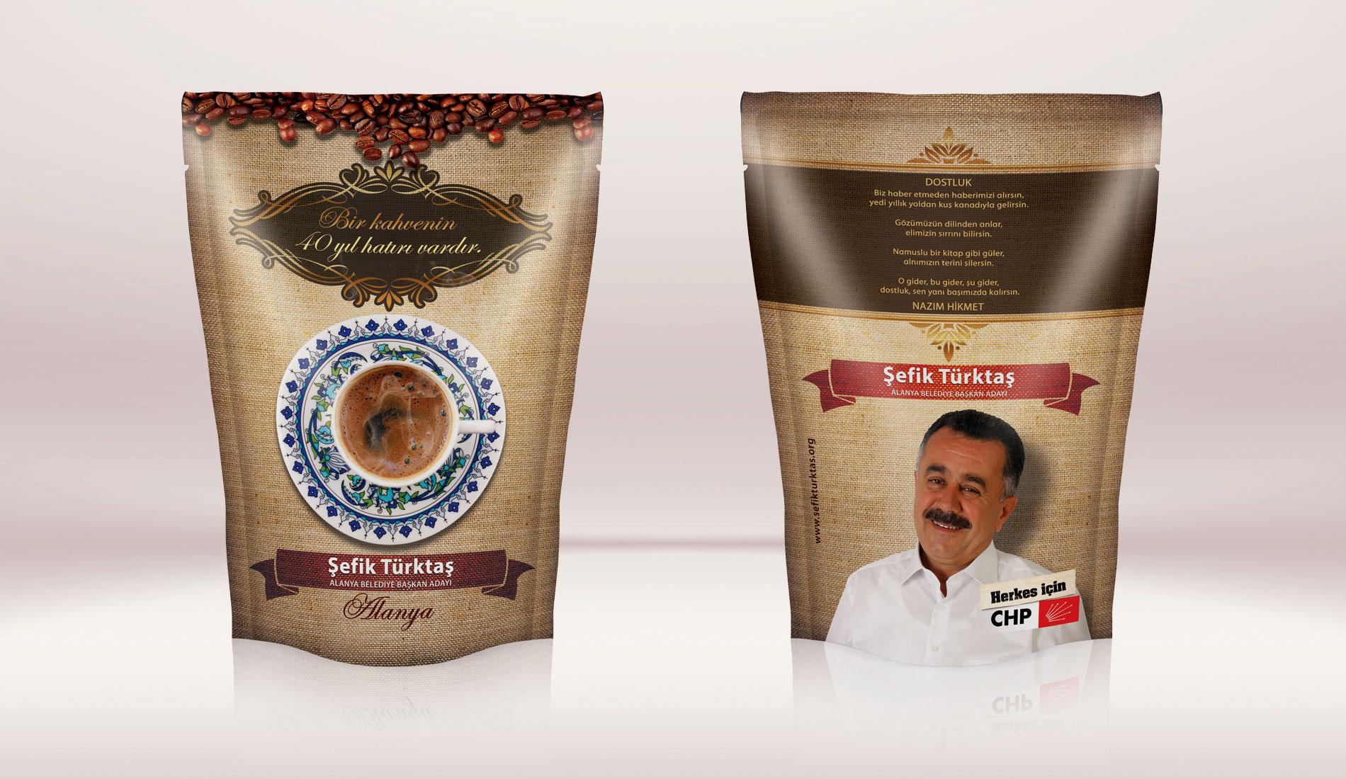 Kahve Ambalajı Tasarımı - CHP   Cumhuriyet Halk Partisi Alanya Belediye Başkan Adayı Şefik Türktaş