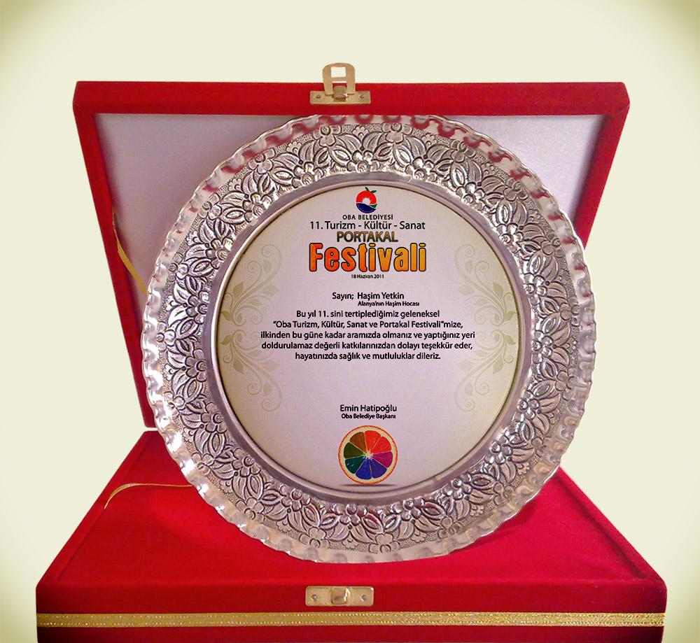 Kadife Kutu Plaket - Gümüş Tabak, Porselen Tabak, Kristal - Portakal Festivali Alanya