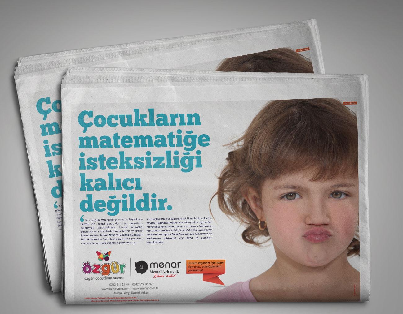 Gazete ilanı tasarımı - Özgür Çocuk Kulübü