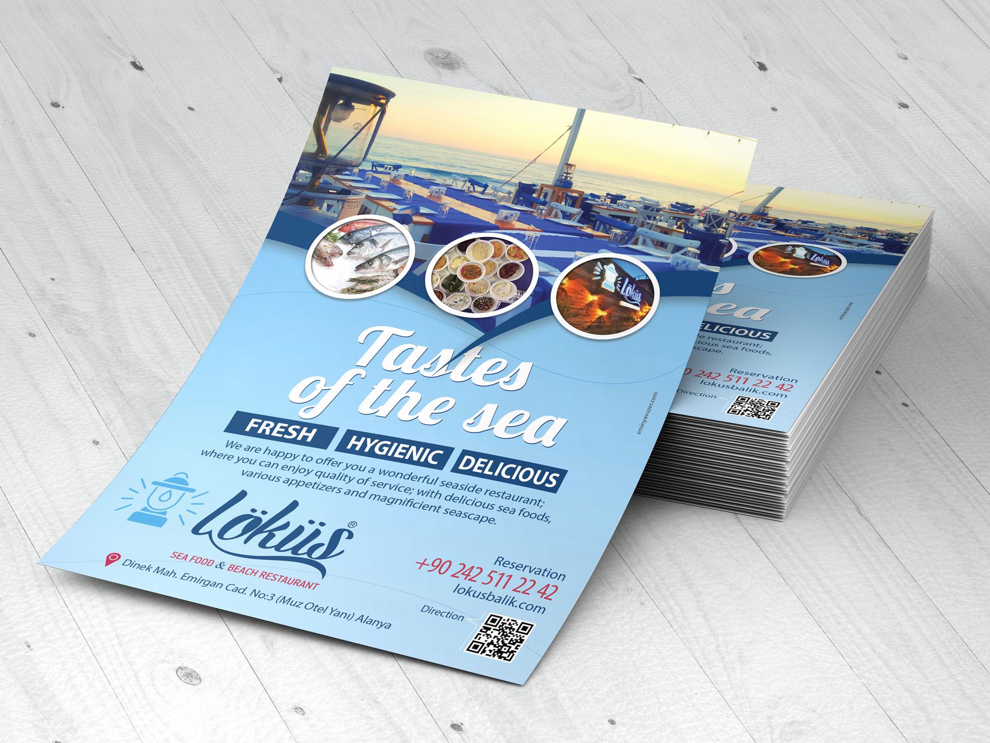 Flyer Tasarım - Löküs Balık & Sahil Restoranı -Matbaa Baskı